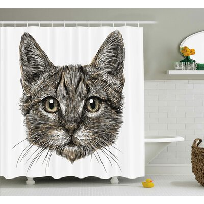 Everly Sketchy Cute Cat Head Shower Curtain Size: 69 W x 70 L