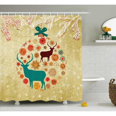 Christmas Reindeer Winter Shower Curtain Size: 69 W x 84 L