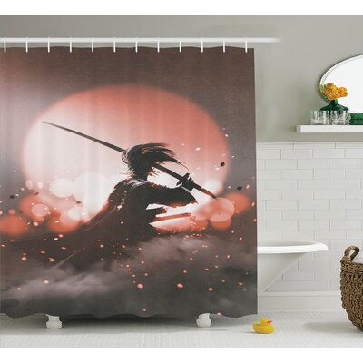 Japanese Samurai with Sword Shower Curtain Size: 69 W x 84 L
