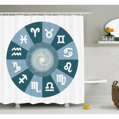 Alexi Zodiac Universe Signs Shower Curtain Size: 69 W x 84 L