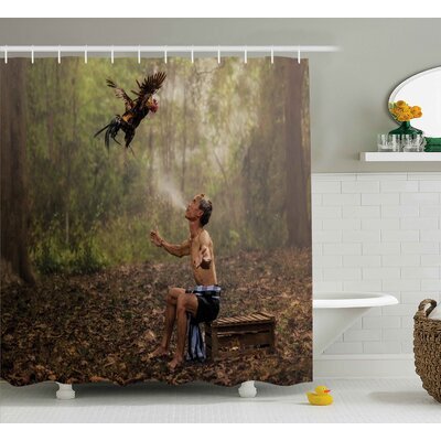 Jungle Asian Forest Birds Eco Shower Curtain Size: 69 W x 70 L