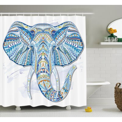 Delmer Indian Totem Elephant Shower Curtain Size: 69 W x 84 L