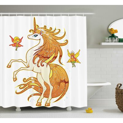Sheldon Unicorn and Fairy Art Shower Curtain Size: 69 W x 84 L