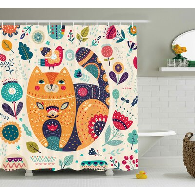 Paisley Cat and Flower Leaf Shower Curtain Size: 69 W x 70 L