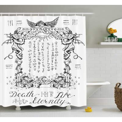 White Gothic Medieval Magic Shower Curtain Size: 69 W x 84 L