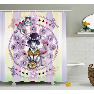 Animal Rabbit and Cat Novel Shower Curtain Size: 69
