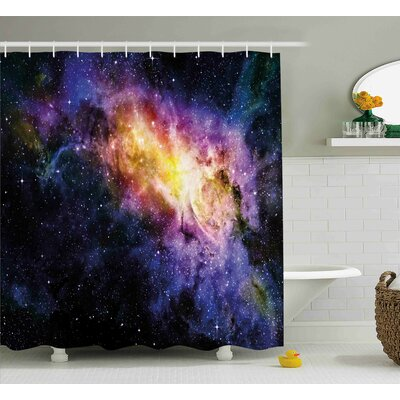 Galaxy Alluring Nebula Stars Shower Curtain Size: 69 W x 75 L