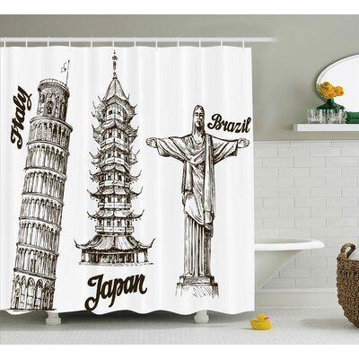 Travel Japanese Temple View Shower Curtain Size: 69 W x 70 L