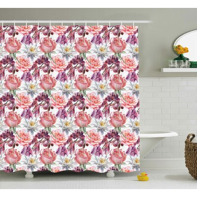 Anjali Rose and Lily Flowers Shower Curtain Size: 69 W x 84 L