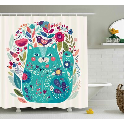 Lottie  Kitty with Flower and Bird Shower Curtain Size: 69 W x 70 L