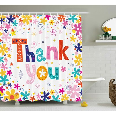 Jamel Quote with Blossoms Shower Curtain Size: 69 W x 75 L