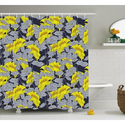 Arielle Contrast Tones Florets Shower Curtain Size: 69