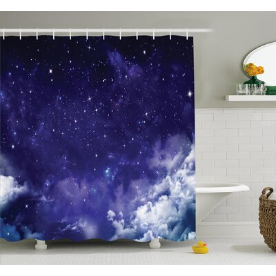 Space Dreamy Night with Stars Shower Curtain Size: 69 W x 75 L