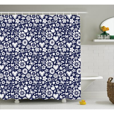Maverick Heart Butterflies Leafs Shower Curtain Size: 69 W x 84 L