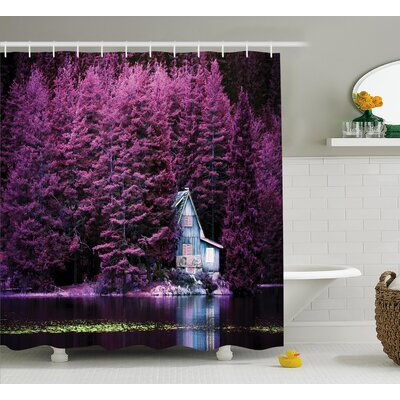 Lavender Purple Trees by Lake Shower Curtain Size: 69 W x 70 L
