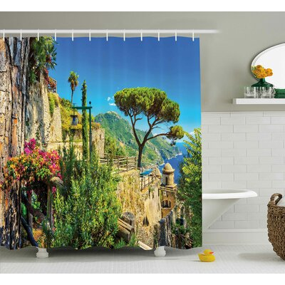 Scenery Village Trees Blossoms Shower Curtain Size: 69 W x 84 L