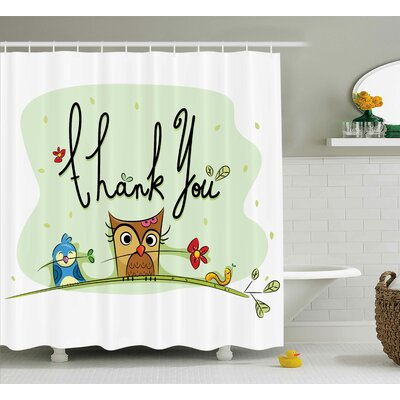Lottie Cute Chubby Bird Owl Shower Curtain Size: 69 W x 84 L