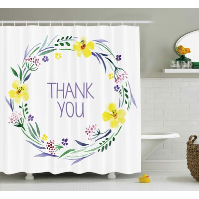 Banister Romantic Floral Quote Shower Curtain Size: 69 W x 75 L