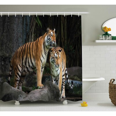 Animal Tiger Couple in Jungle Shower Curtain Size: 69 W x 84 L