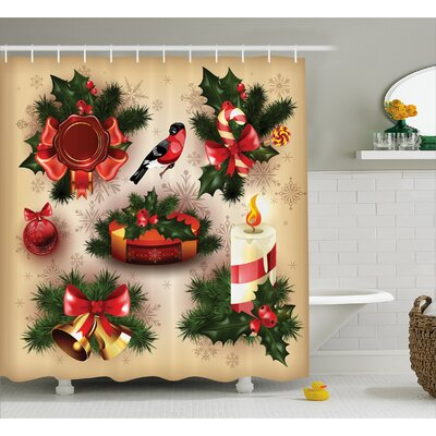 Christmas Vintage Ornaments Shower Curtain Size: 69 W x 75 L