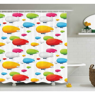 Marguerite Colored Aviation Plane Shower Curtain Size: 69 W x 84 L