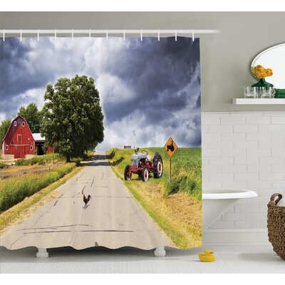 Rural Barn and Tractor on Side Shower Curtain Size: 69 W x 84 L