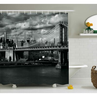 Benton NYC in Black and White Shower Curtain Size: 69 W x 75 L