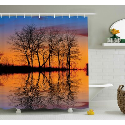 Nature Sunset by Lake View Shower Curtain Size: 69 W x 75 L