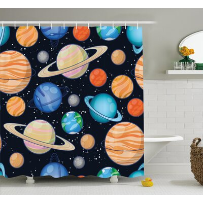Mariah Galaxy Space Art Solar Shower Curtain Size: 69