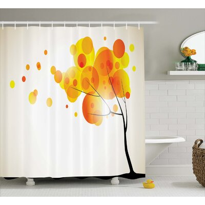 Aidy Autumn Sun and Trees Shower Curtain Size: 69 W x 84 L