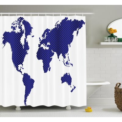 Berggren World Map Travel Holiday Shower Curtain Size: 69 W x 75 L