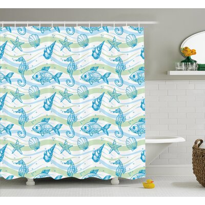 Roxanna Ocean Shell Starfish Shower Curtain Size: 69 W x 84 L