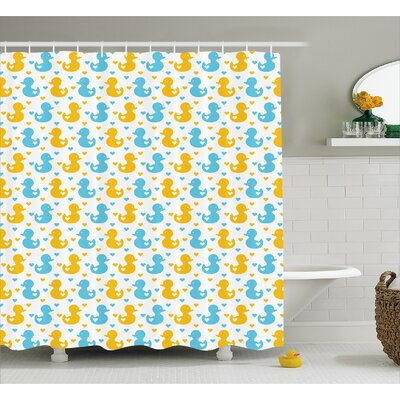 Jaleel Duck Hearts Baby Print Shower Curtain Size: 69 W x 70 L