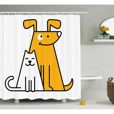 Lucia Cats and Dogs Friends Shower Curtain Size: 69 W x 70 L