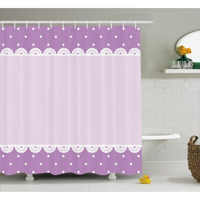 Destin Old Lace Patterns Polka Shower Curtain Size: 69 W x 84 L