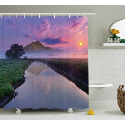 Bleeker Misty Sunrise on River Shower Curtain Size: 69 W x 75 L
