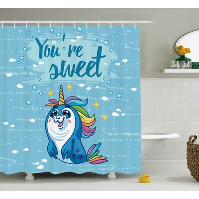 Sheldon Penguin and Sea Decor Shower Curtain Size: 69 W x 70 L