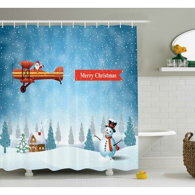 Christmas Santa Plane Snowman Shower Curtain Size: 69 W x 75 L