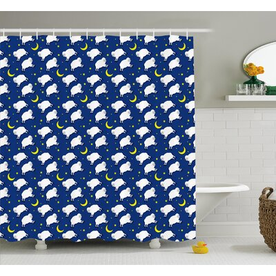 Luella Crescent Moon and Stars Shower Curtain Size: 69 W x 70 L