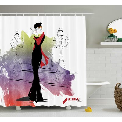 Emerson Fashion Lady Retro Art Shower Curtain Size: 69 W x 75 L
