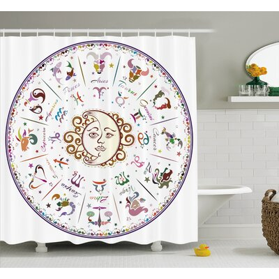 Forecast Astrology Zodiac Sign Shower Curtain Size: 69 W x 70 L