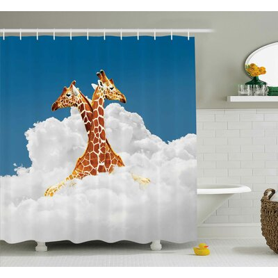 Romantic Animal Couple Giraffe Shower Curtain Size: 69 W x 84 L