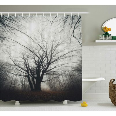 Harding Autumn Tree in Fog Dark Shower Curtain Size: 69 W x 84 L