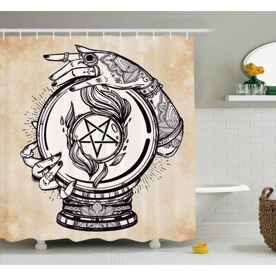 Tan Medium Crystal Ball Indian Shower Curtain Size: 69 W x 75 L