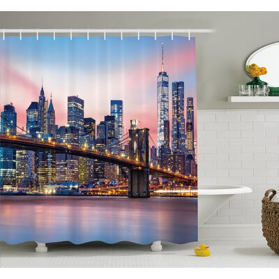 Brunelle Sunrise in Brooklyn Bridge Shower Curtain Size: 69 W x 70 L