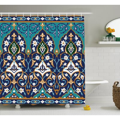 Darcia Abstract Navy Decor Shower Curtain Size: 69 W x 70 L