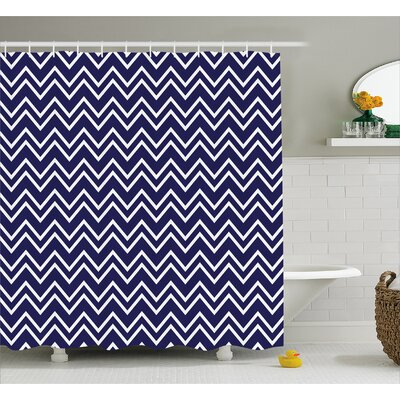 Zana Zig Zag Modern Pattern Shower Curtain Size: 69 W x 70 L