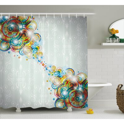 Biles Modern Rainbow Waves Shower Curtain Size: 69 W x 70 L