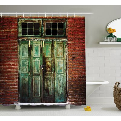 Rustic Rusty Old Retro Door Shower Curtain Size: 69 W x 84 L