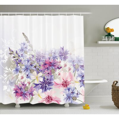 Burma Pink Purple Flowers Shower Curtain Size: 69